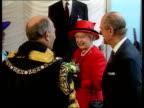 Queen Elizabeth and The Duke of Edinburgh's Golden Wedding Anniversary UK London Guild Hall Queen Elizabeth II Prince Phillip greeting Lord Mayor of...