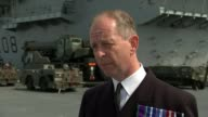 HMS Queen Elizabeth arrives in Portsmouth ENGLAND Hampshire Portsmouth Captain Jerry Kyd interview SOT Long shot helicopter Wide shot HMS Queen...