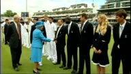 Queen Elizabeth attends Ashes Test at Lords Queen Elizabeth and Prince Philip introduced to England players by England Captain Andrew Strauss/ Queen...