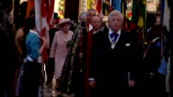 Queen Elizabeth attends Commonwealth Day Observance Service Maori group along aisle as leaving service/ Queen Elizabeth and Prine Philip along aisle...