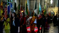 Queen Elizabeth attends Commonwealth Day of Observance service at Westminster Abbey Procession of Commonwealth flagbearers down aisle and out through...