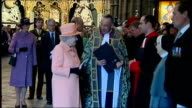 Queen Elizabeth attends Commonwealth Day of Observance service at Westminster Abbey Annie Lennox standing with others at Abbey entrance/ Queen...