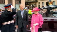 Greenock SCOTLAND Greenock EXT Queen Elizabeth accompanied by Prince Philip The Duke of Edinburgh out of car and greetd by officials as National...