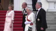 Queen Elizabeth II accompanied by Prince Philip and German President Joachim Gauck with his partner Daniela Schadt seen arriving at Schloss Bellevue...