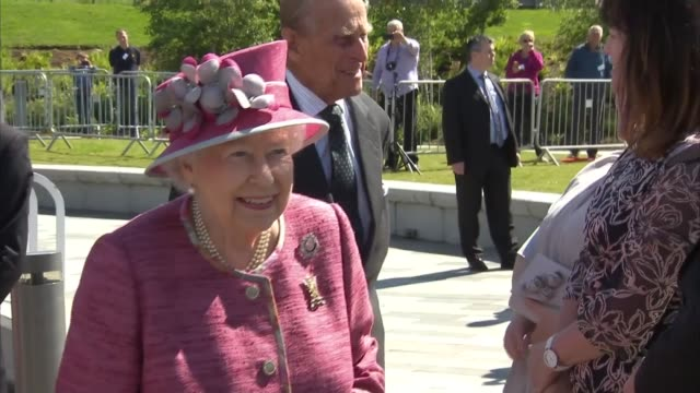 Queen Elizabeth II and Prince Philip and visit Falkirk Kelpies and name a canal SCOTLAND Falkirk Grangemouth The Helix EXT Name on barge 'Wooden...