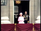Queen Elizabeth II and Prince Philip appear on balcony of Buckingham Palace wave to adoring crowds Silver Jubilee celebrations 07 June 77