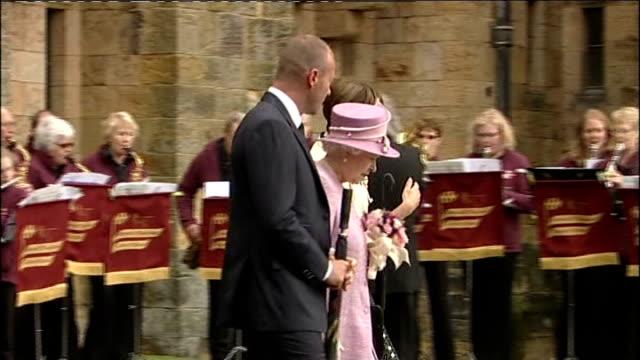 Queen Elizabeth II Duke of Edinburgh Alan Shearer and Duchess of Northumberland at Alnwick Castle ENGLAND Northumbria Alnwick Castle EXT ** Music...