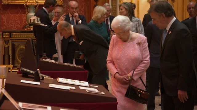Queen Elizabeth II hosted the Colombian President Juan Manuel Santos on his visit to the UK Shows Queen Elizabeth II Prince Philip Duke of Edinburgh...