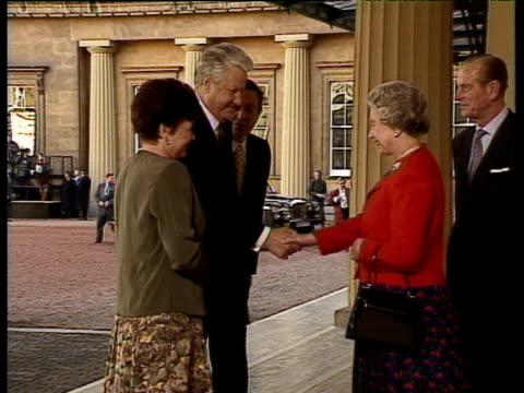 Queen Elizabeth II introduces Russian President Boris Yeltsin and wife Naya to Prince Andrew Duke of York Buckingham Place 10 Nov 92