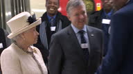 Queen Elizabeth II meeting and speaking to various TFL employees with Queen smiling and laughing Royals visits Baker Street Tube Station at Baker...