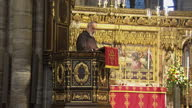 Queen Elizabeth II the Duke Of Edinburgh attend the Tenth General Synod inauguration Shows interior shots Preacher to the Papal Household Raniero...