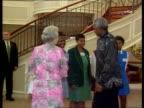 Queen Elizabeth II visit POOL SOUTH AFRICA Pretoria INT Queen Elizabeth II PAN to former South African president Nelson Mandela PAN back to Queen...