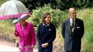 Queen Elizabeth inspects Buckingham Palace vegetable garden Queen Elizabeth and Prince Philip inspecting vegetable garden accompanied by female...