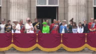 Queen Elizabeth ll and Prince Philip with Royal Family on the balcony at Buckingham Palace for the Queens 90th Birthday Celebrations on June 11th 2016