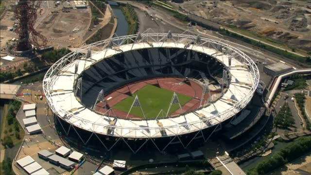 Queen Elizabeth Olympic Park reopens to public AIR VIEW London 2012 Olympic Stadium