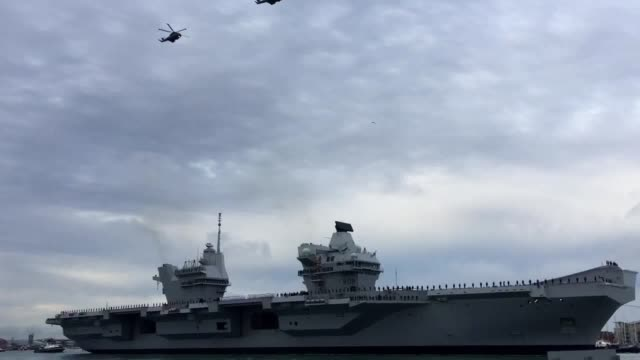 HMS Queen Elizabeth the UK's newest aircraft carrier arrives in Portsmouth for the first time Interviews with Admiral Sir Philip Jones First Sea Lord...