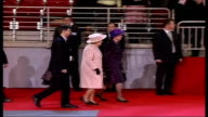 Queen Elizabeth visits Latvia Riga Arena Vars Queen Elizabeth Prince Philip Vaira VikeFreiberga and Imants Freiberg take their seats inside arena for...