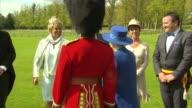 Queen gives garden party in honour of the Welsh Guards ENGLAND Berkshire Windsor Windsor Castle EXT Queen Elizabeth II Prince Philip the Duke of...