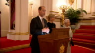 Queen holds reception for organisations linked to Earl and Countess of Wessex Prince Edward Earl of Wessex along to podium and speech SOT / Sophie...