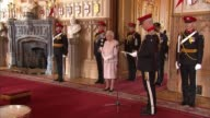 Queen honours The Royal Lancers at Windsor Castle Queen Elizabeth II speech SOT Prince Andrew Duke of York in background / ceremony continues SOT /...
