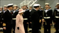 Queen joins HMS Ark Royal's 25th anniversary celebrations inspection of Guard of Honour Officer asking Queen to inspect Guard of Honour Queen along...