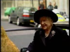 Queen Mother attends memorial service ENGLAND London Savoy Hotel Queen Mother out of car greets priest as arriving at memorial service