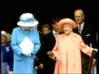 birthday service cEN BONGS Queen Mother waving after leaving church service ITN