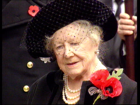 Queen Mother Hip Operation DAY Westminster LMS Queen Mother R09119512 wearing poppy towards leaning on her walking stick a chaplain to poppy memorial...