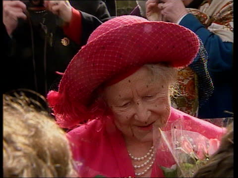 Nosebleed operation NAT U'LAY ENGLAND West Norfolk Fletcham Church EXT TCMS Queen mother smiling as she accepts flowers from well wishers