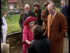 Queen Mother's 99th birthday LIB Fletcham Church Queen Mother accepting flowers from crowd as along with Prince Philip Duke of Edinburgh Queen Mother...