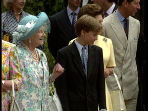 Queen Mother's birthday CMS Queen Mother on walkaboutTMS Queen Mother with Queen Elizabeth II Prince William Prince Charles Princess Margaret...