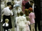 Queen Mother's birthday NAO London Clarence House TMS Queen Mother out to greet crowds with walking stick MS Ditto TMS Bandsmen marching past Queen...