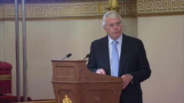 Queen presents Queen's Young Leaders Awards John Major speech SOT Prince Harry speech SOT