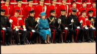 Queen presents regimental colours at Buckingham Palace ENGLAND London Buckingham Palace EXT Queen Elizabeth II along with group of officers in...