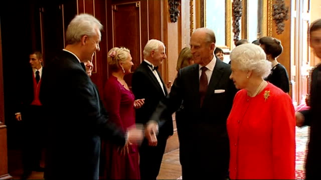 Queen receives Olympic dignitaries at Windsor Castle / Princess Royal speech ENGLAND Berkshire Windsor Castle THROUGHOUT *** Gordon Brown MP standing...