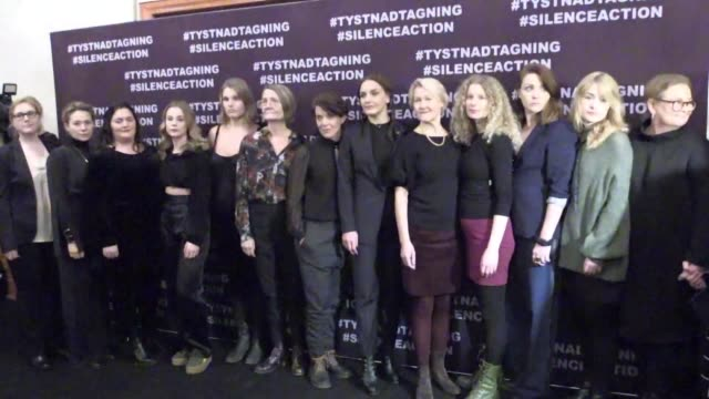 Queen Silvia of Sweden Crown Princess Victoria and some sixty Swedish actresses walked the black carpet in Stockholm on Sunday before taking part in...