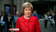 Queen speaks about Scottish Independence Referendum SCOTLAND Edinburgh EXT Nicola Sturgeon MSP LIVE 2WAY interview SOT on Referendum being a once in...