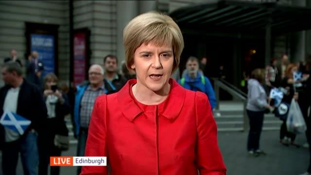 Queen speaks about Scottish Independence Referendum SCOTLAND Edinburgh EXT Nicola Sturgeon MSP LIVE 2WAY interview SOT on Referendum being a once in...