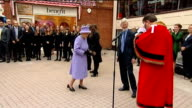 Queen unveils Windsor and Eton Society Diamond Jubilee Tribute ENGLAND Berkshire Windsor EXT Queen Elizabeth II along and shaking hands with...