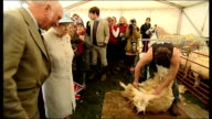 Queen visits Glanusk Park's Diamonds in the Park festival Queen greeting people / Queen and anglers / Queen chatting Queen watching sheep being...