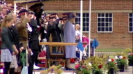 Queen visits The Argyll and Sutherland Highlanders at Howe Barracks **Music heard SOT** Soldiers standing as national anthem is played SOT / Queen...