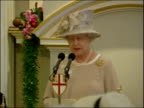 Queen's 80th birthday birthday lunch at Mansion House Fanfare heard being played by trumpeters SOT Queen Elizabeth II speech SOT My Lord Mayor I am...