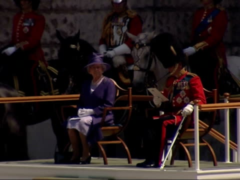 Queen's 80th birthday celebrations Trooping the Colour March On / Queen's arrival / Massed bands Troop ENGLAND London Horse Guards Parade EXT...