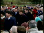 Queen's Christmas message/ Royals at Sandringham 1330 NICHOLAS OWEN Norfolk Sandringham TGV crowd ZOOM IN distant royal family members towards Prince...