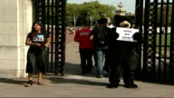 Queen's Guards Bear skins Animal rights campaigners demand fake fur be used instead of bearskin Protest ENGLAND London EXT Protestor dressed as bear...