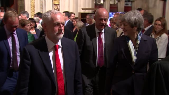 Queen's Speech Main Palace of Westminster Jeremy Corbyn and Theresa May along not talking Nigel Dodds MP along with other MPs