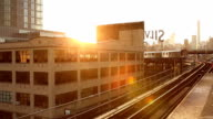 Queensboro Plaza Subway Sunset in New York City