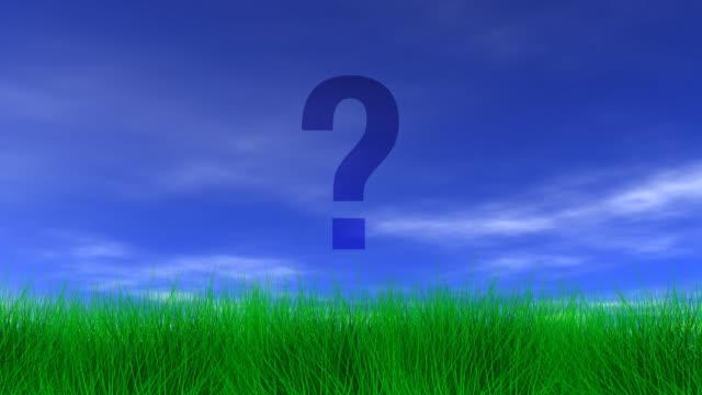 Question Mark, Green Grass & Blue Sky