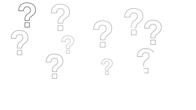 question marks animation on white background