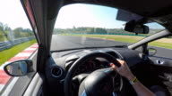 Race car drivers point of view on a race track